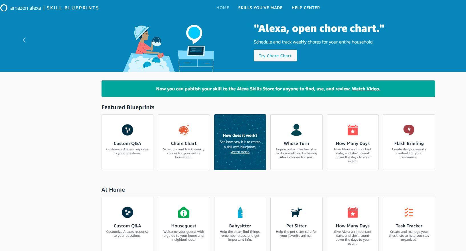 Screenshot of Alexa Blueprint site