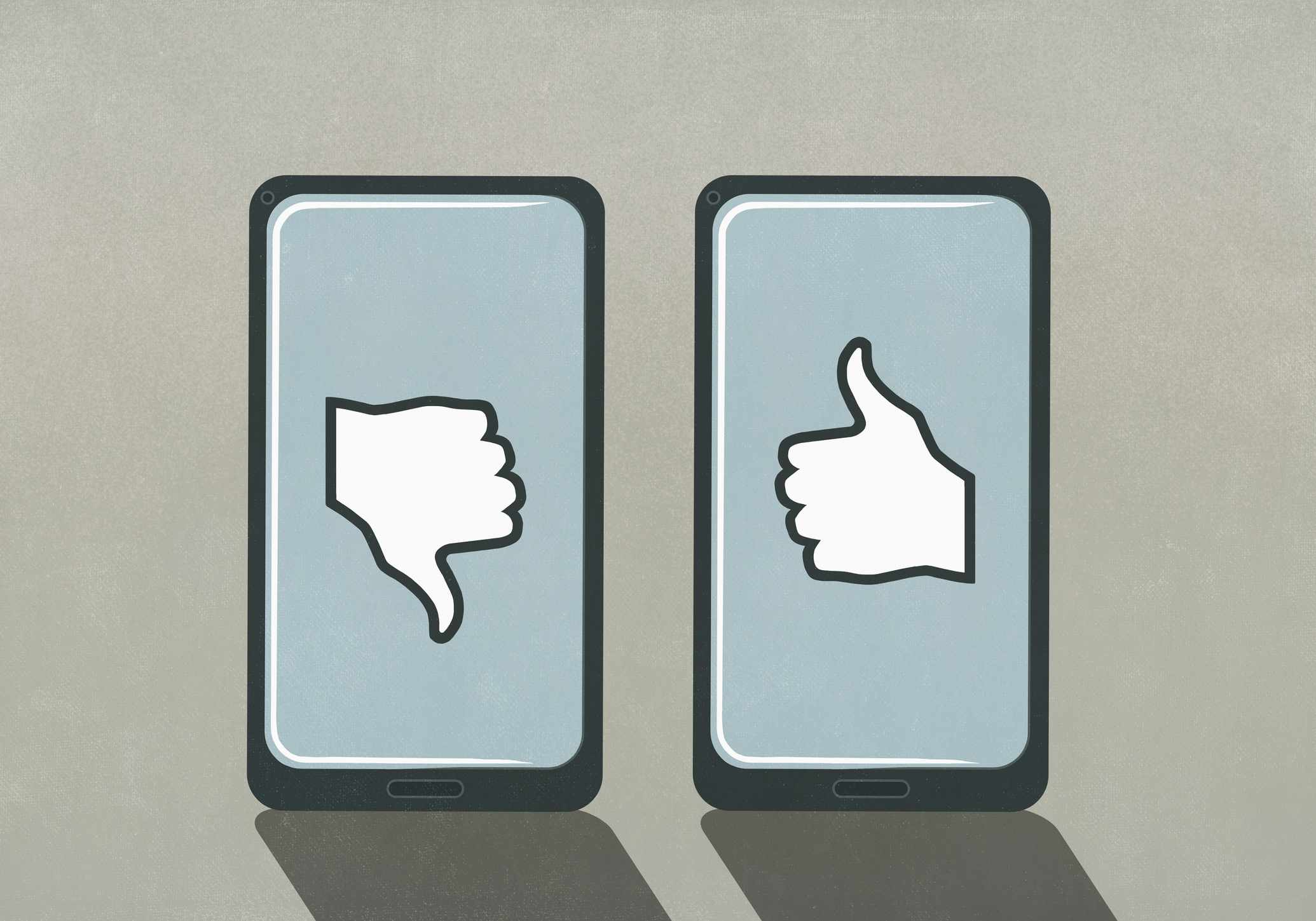 Illustration of two smartphones, one with thumbs up and one with thumbs down displayed on the screens.