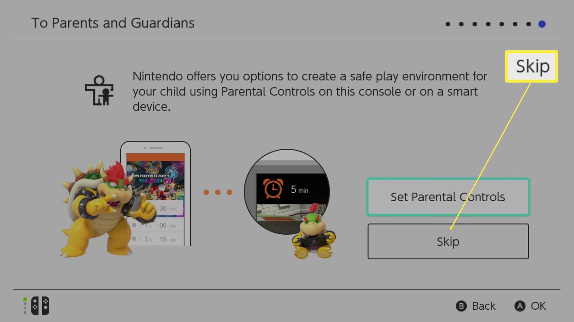 Nintendo Switch setup with Set Parental Controls options highlighted