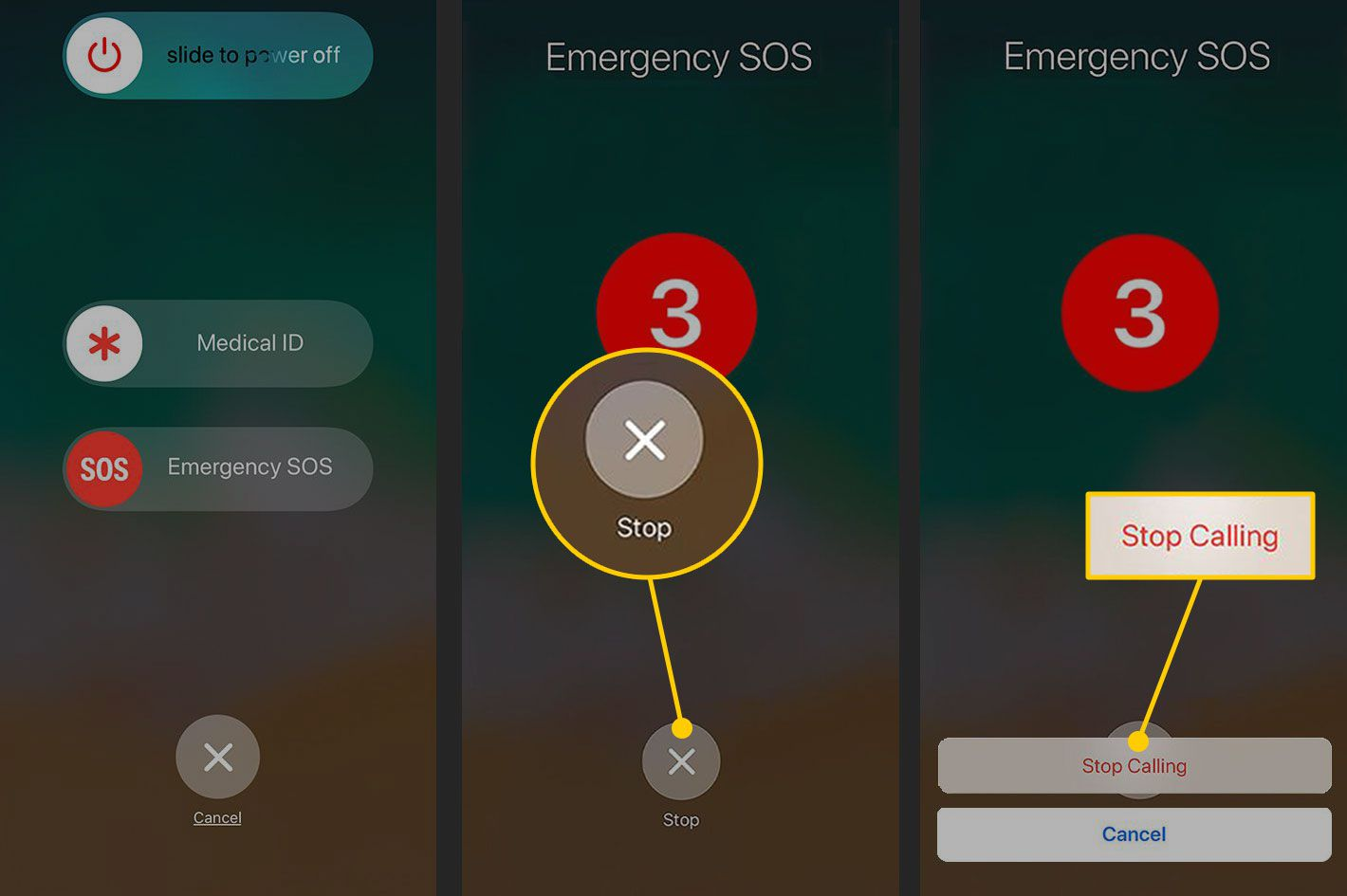 Cancelling an Emergency SOS on an iPhone