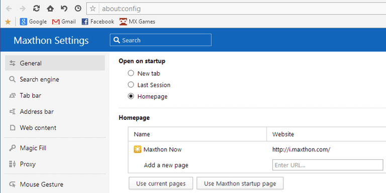 Maxthon settings