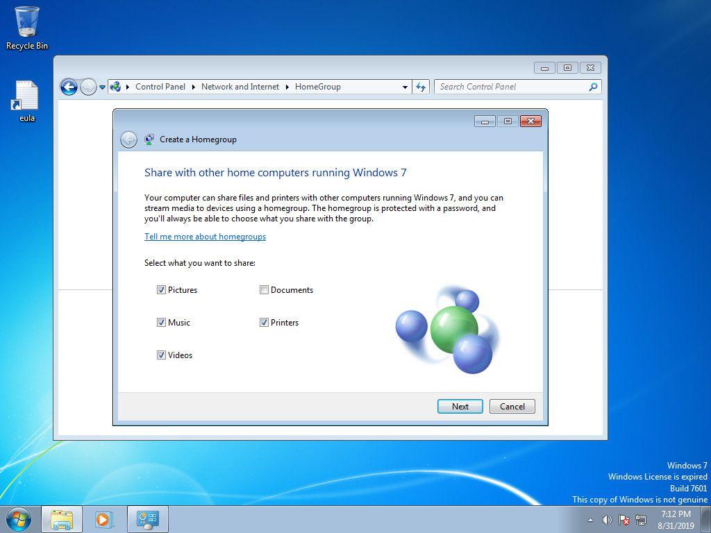 Windows 7 select homegroup sharing