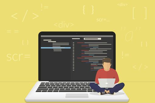 Illustration of man working on laptop sitting on laptop with CSS HTML code on screen with code tags in background