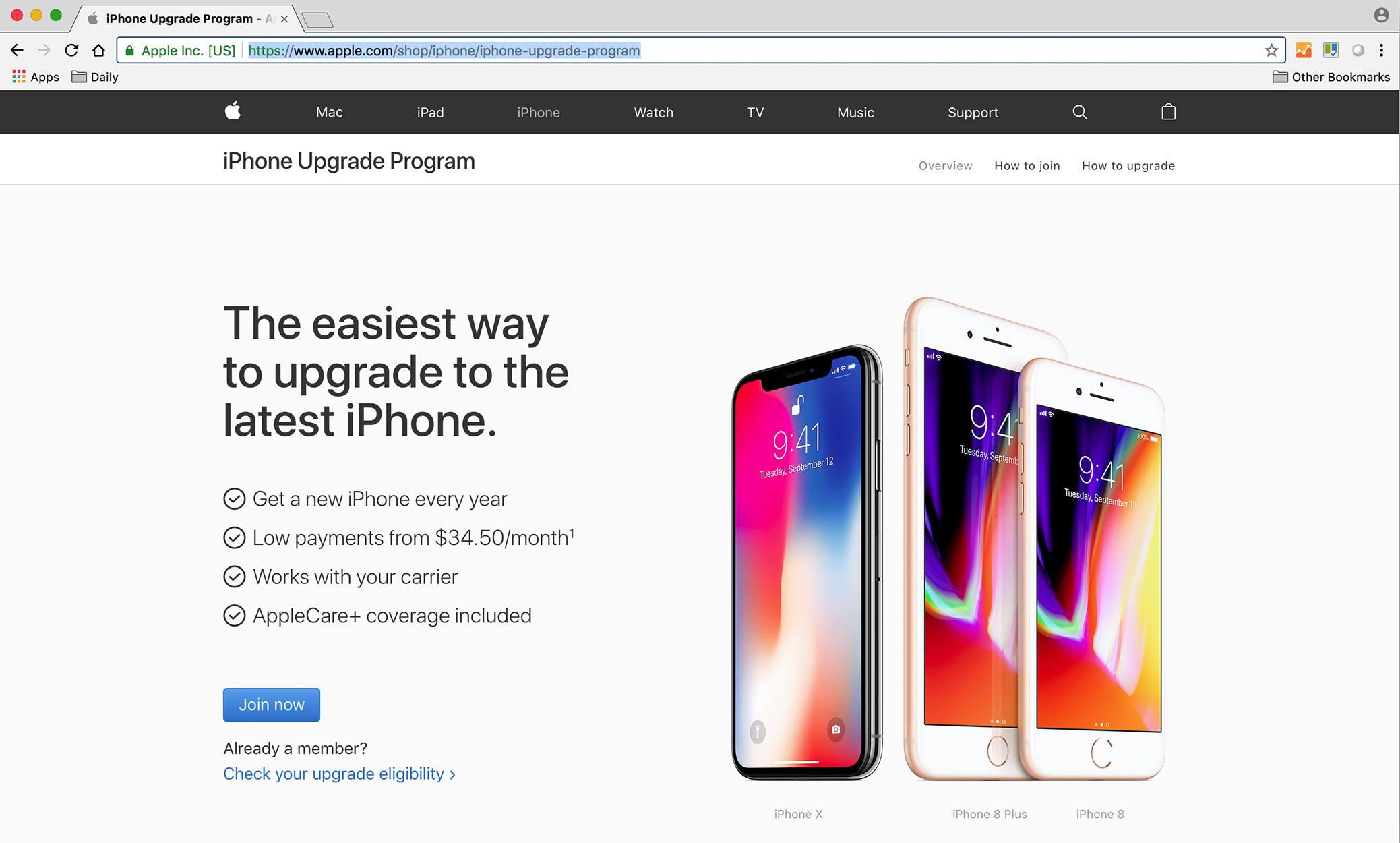 Screenshot of Apple iPhone upgrade program website