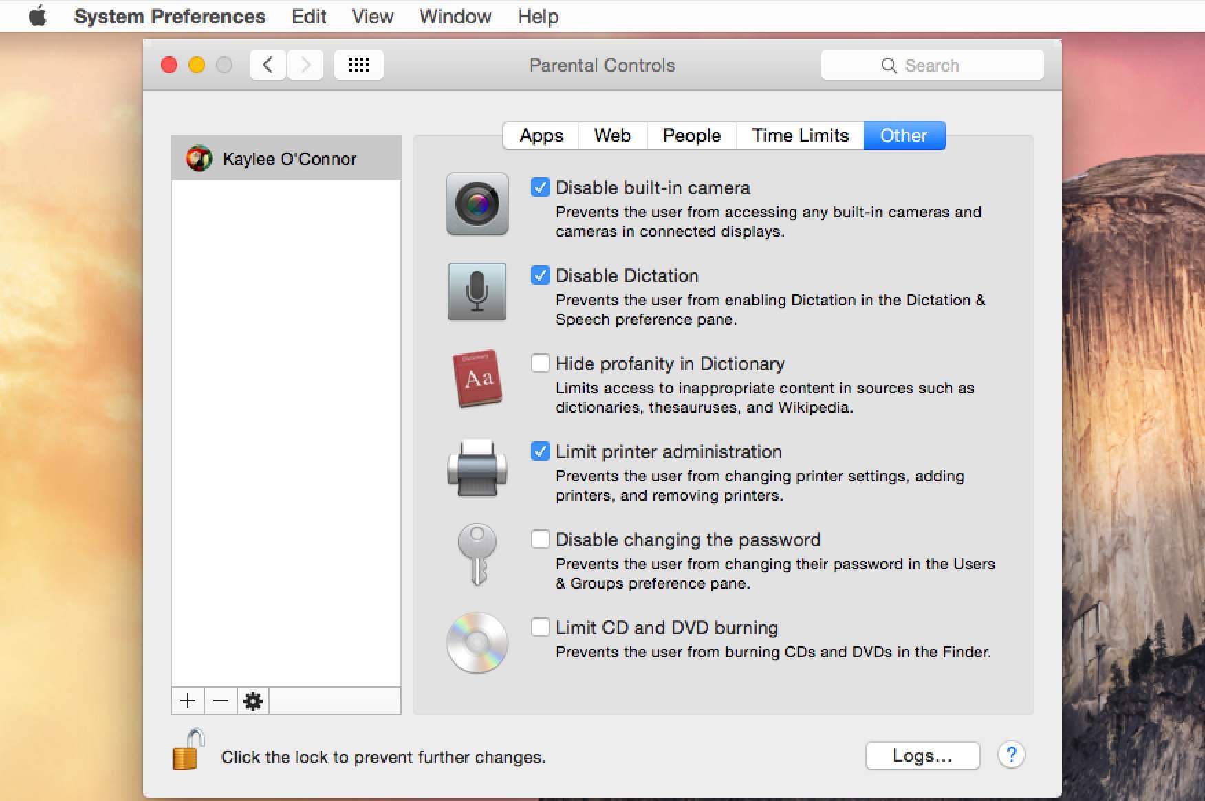 Set up the Mac's Parental Controls