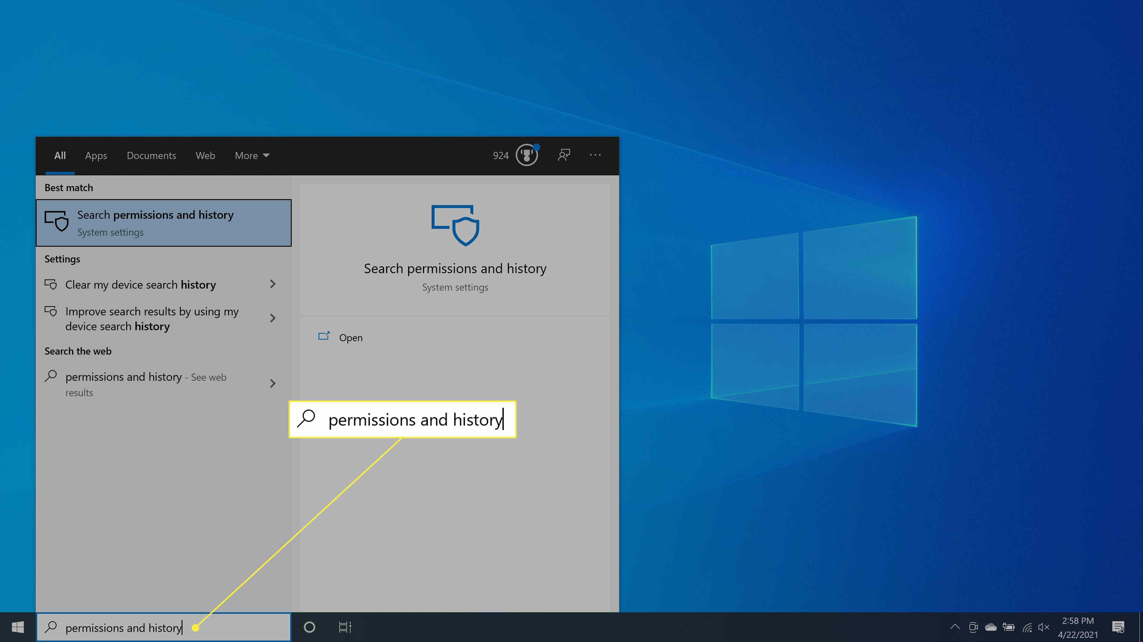 Type permissions and history in the Windows search box and select Permissions & history.
