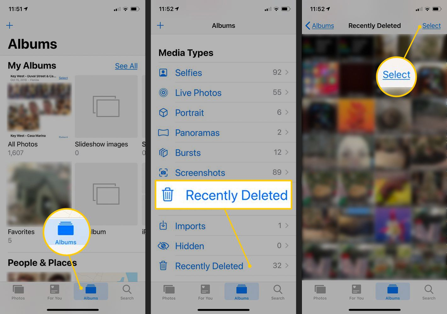 Albums, Recently Deleted, Select buttons in iOS Photos app
