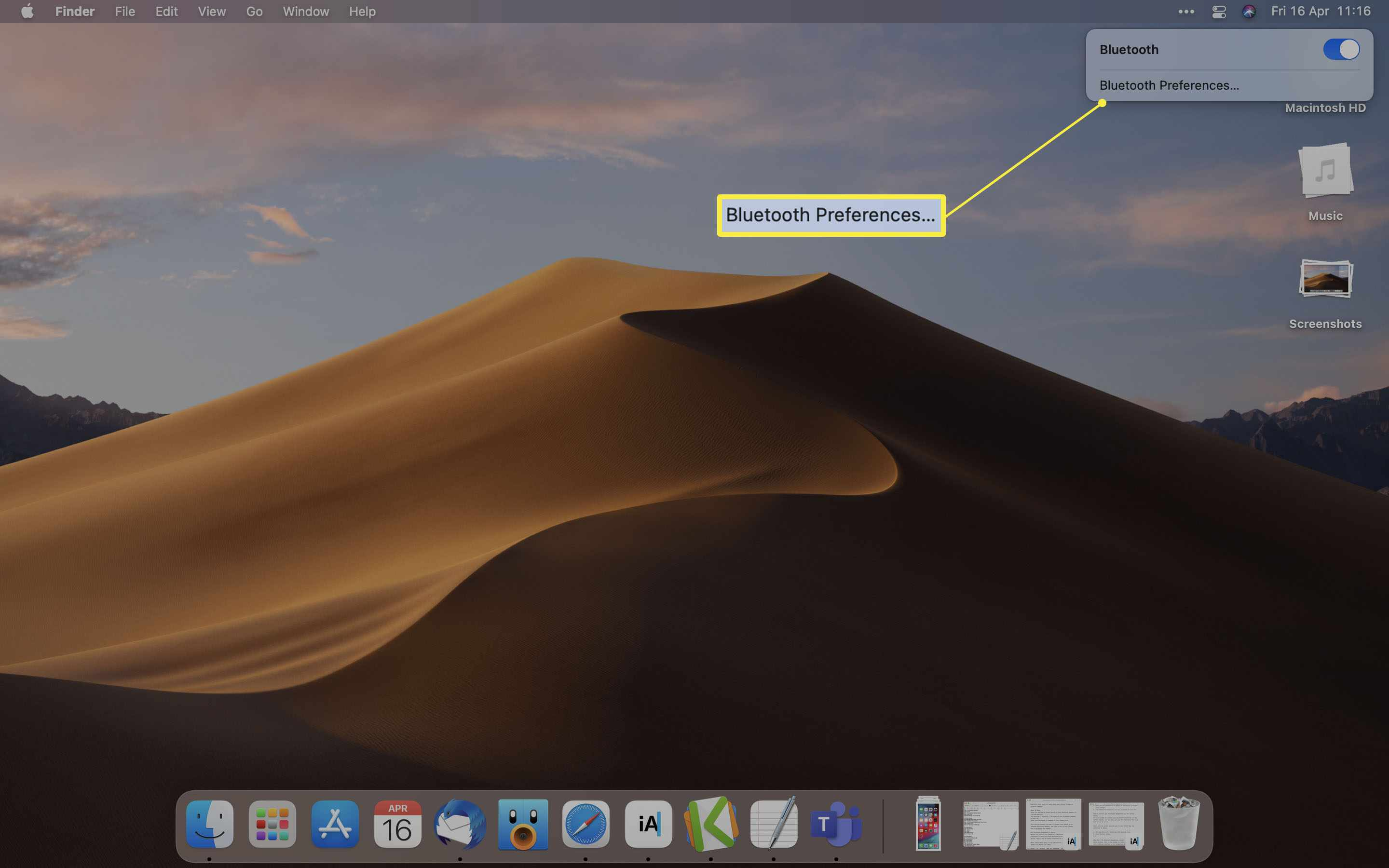 MacOS Control Center with Bluetooth Preferences highlighted