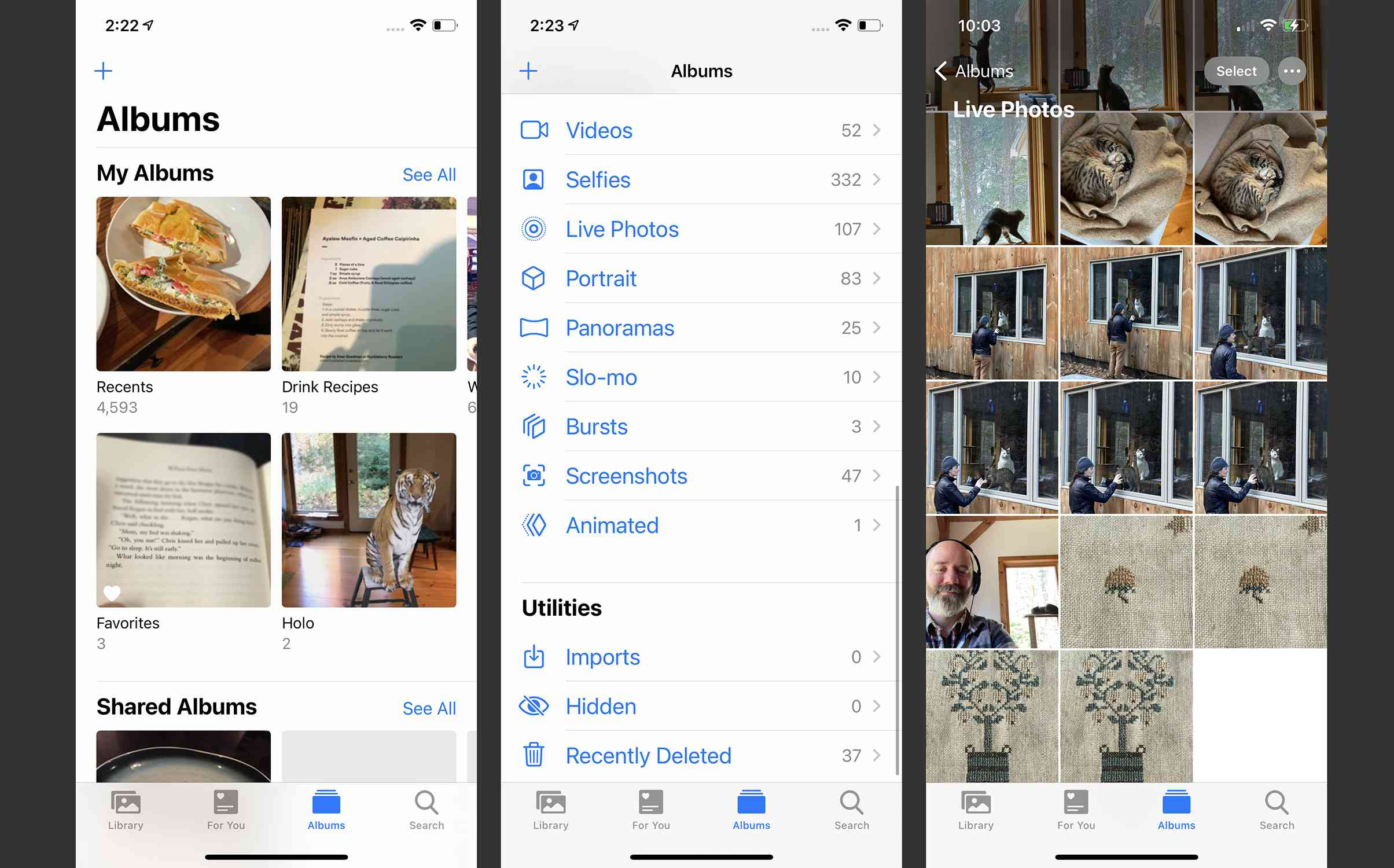 Screenshots of finding Live Photos in the Photos app
