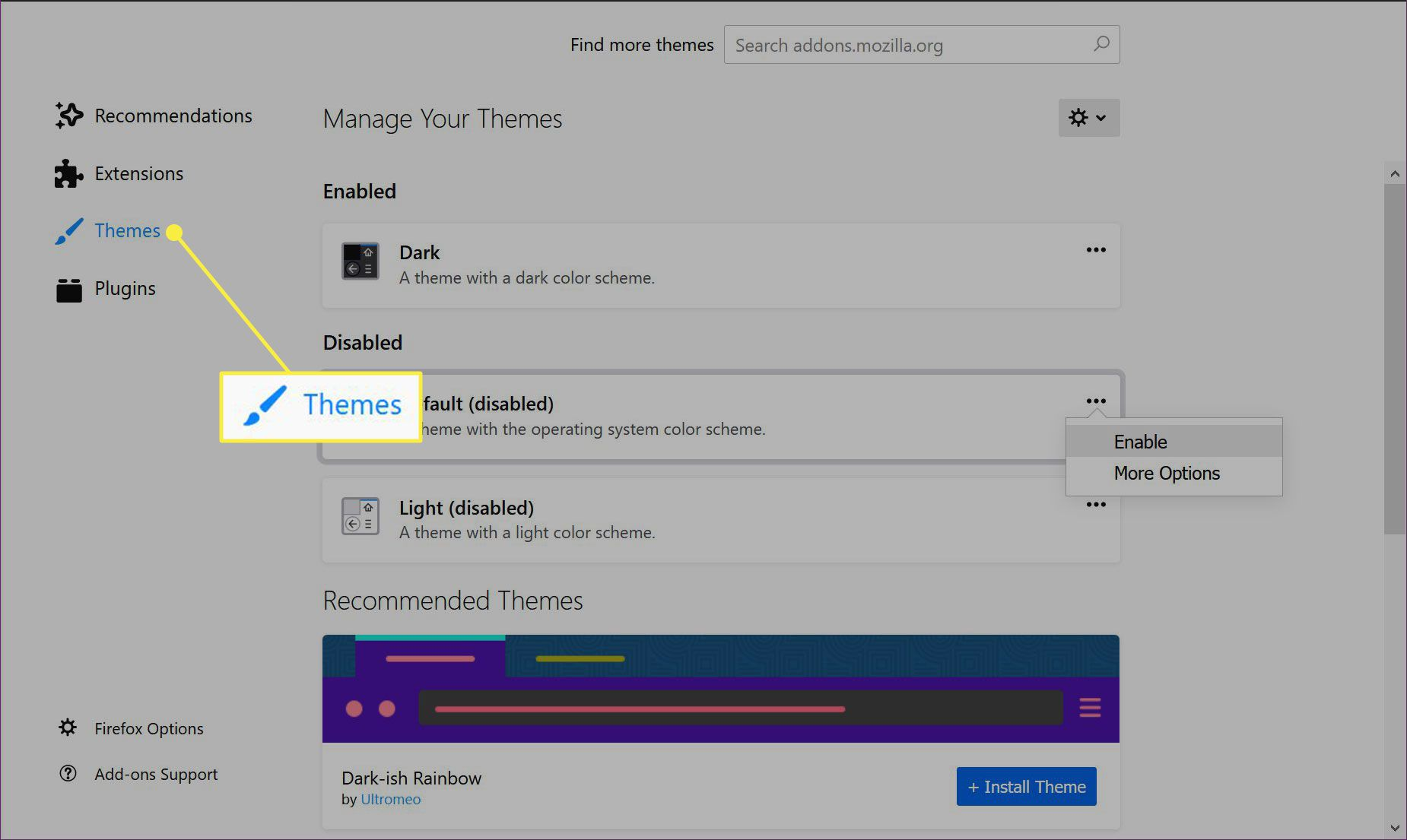 The Themes heading in Firefox Add-ons