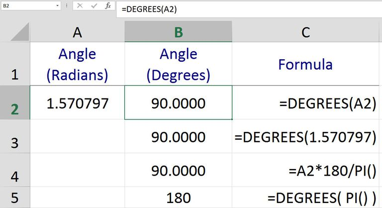 Converting Angles from Radians to Degrees with Excel's DEGREES Function