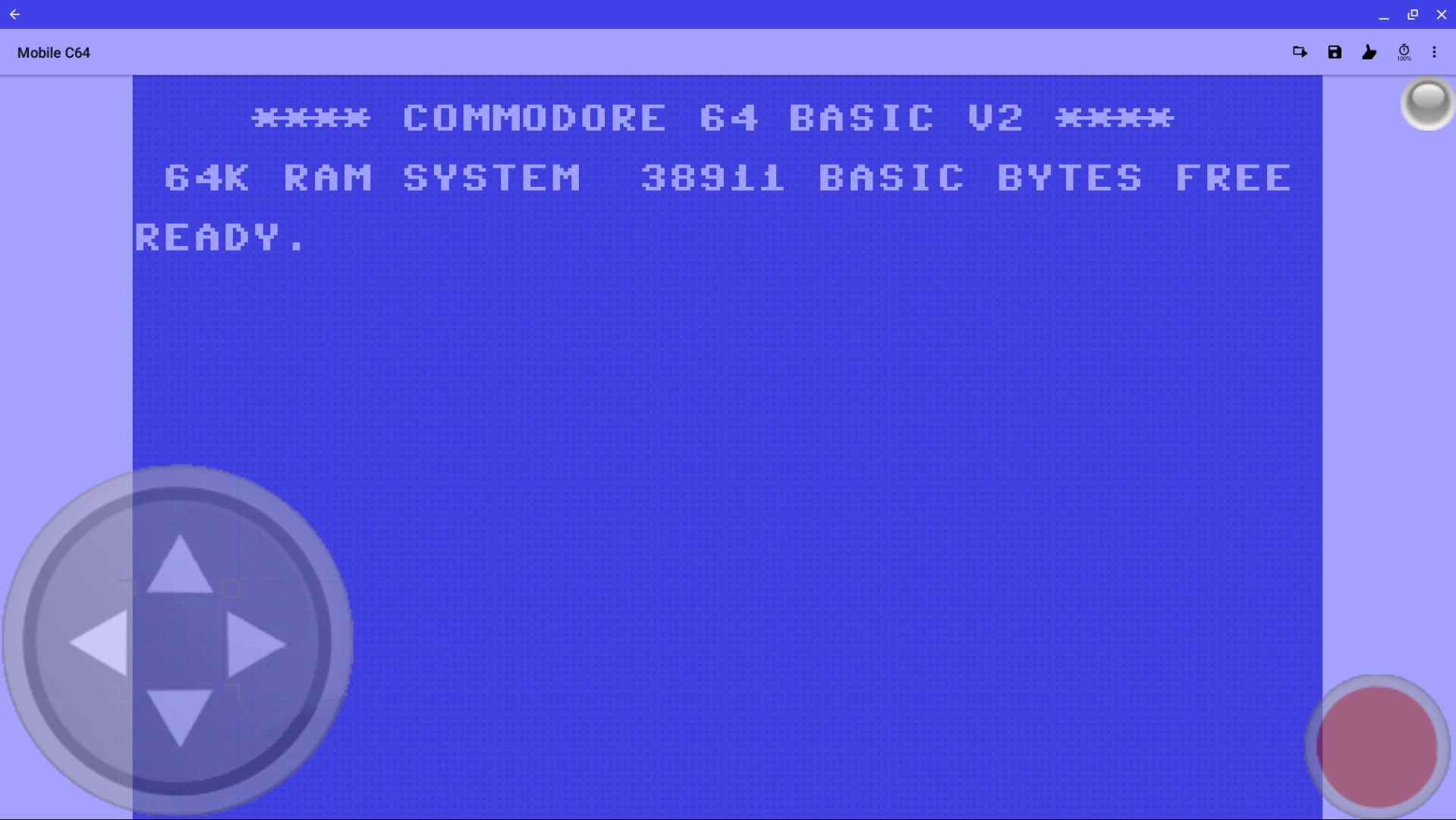 Screenshot of Mobile64 app, with Commodore 64 Basic V2 displayed