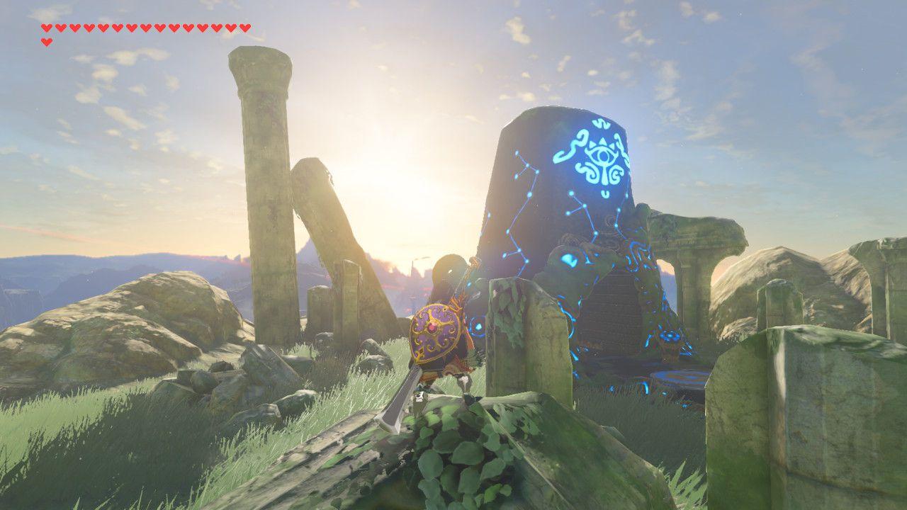 Standing outside Tena Ko'sah Shrine in The Legend of Zelda: Breath of the Wild.