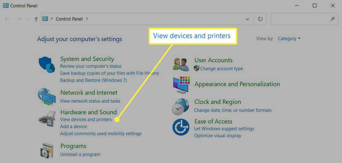 View Devices and Printers highlighted under Hardware and Sound.