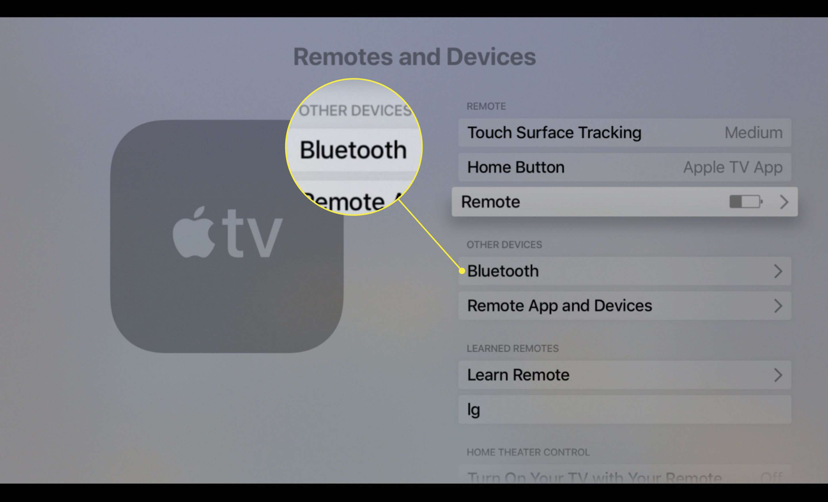 A screenshot of Apple TV's Remotes and Devices settings screen with the Bluetooth option highlighted