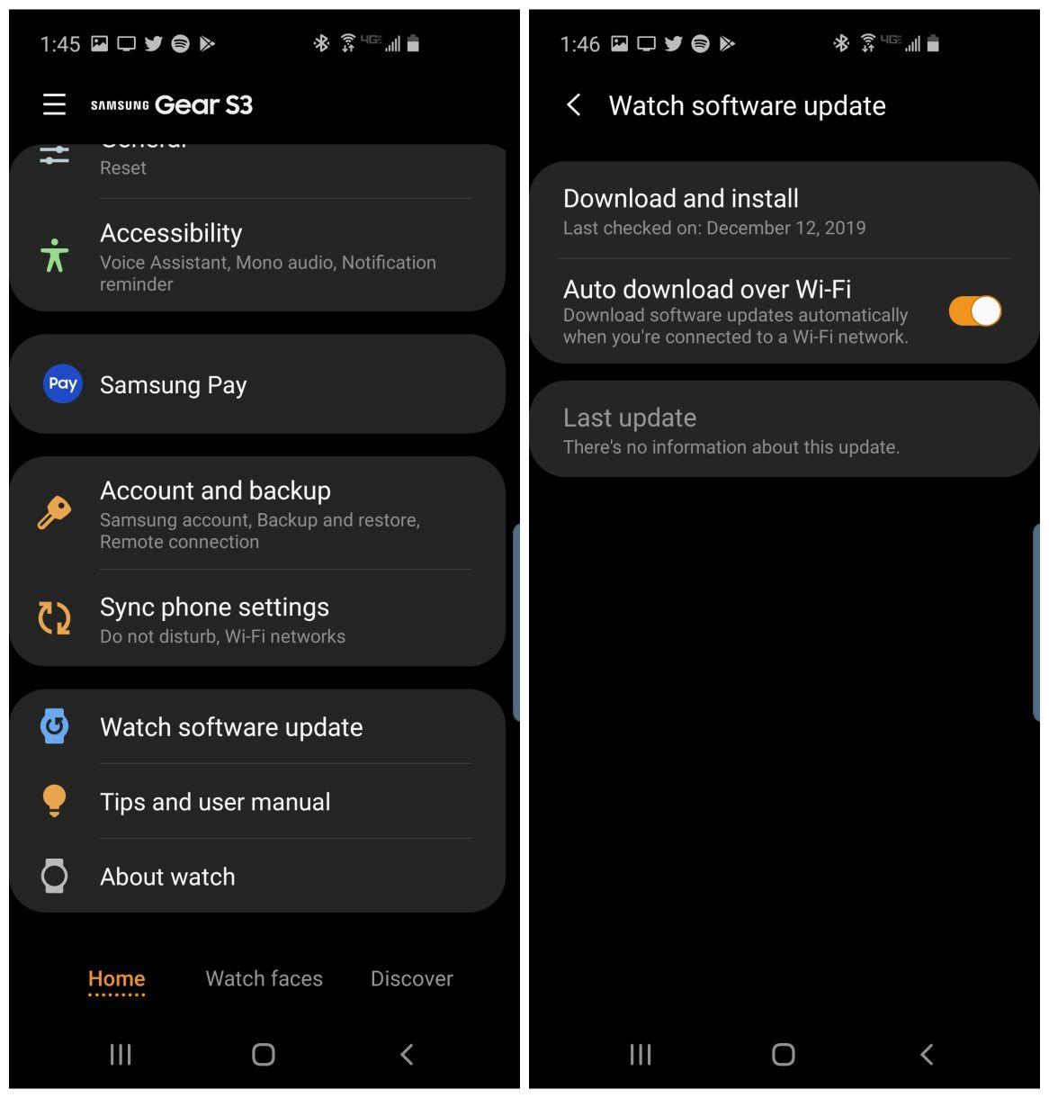Screenshots of updating Samsung Gear S3