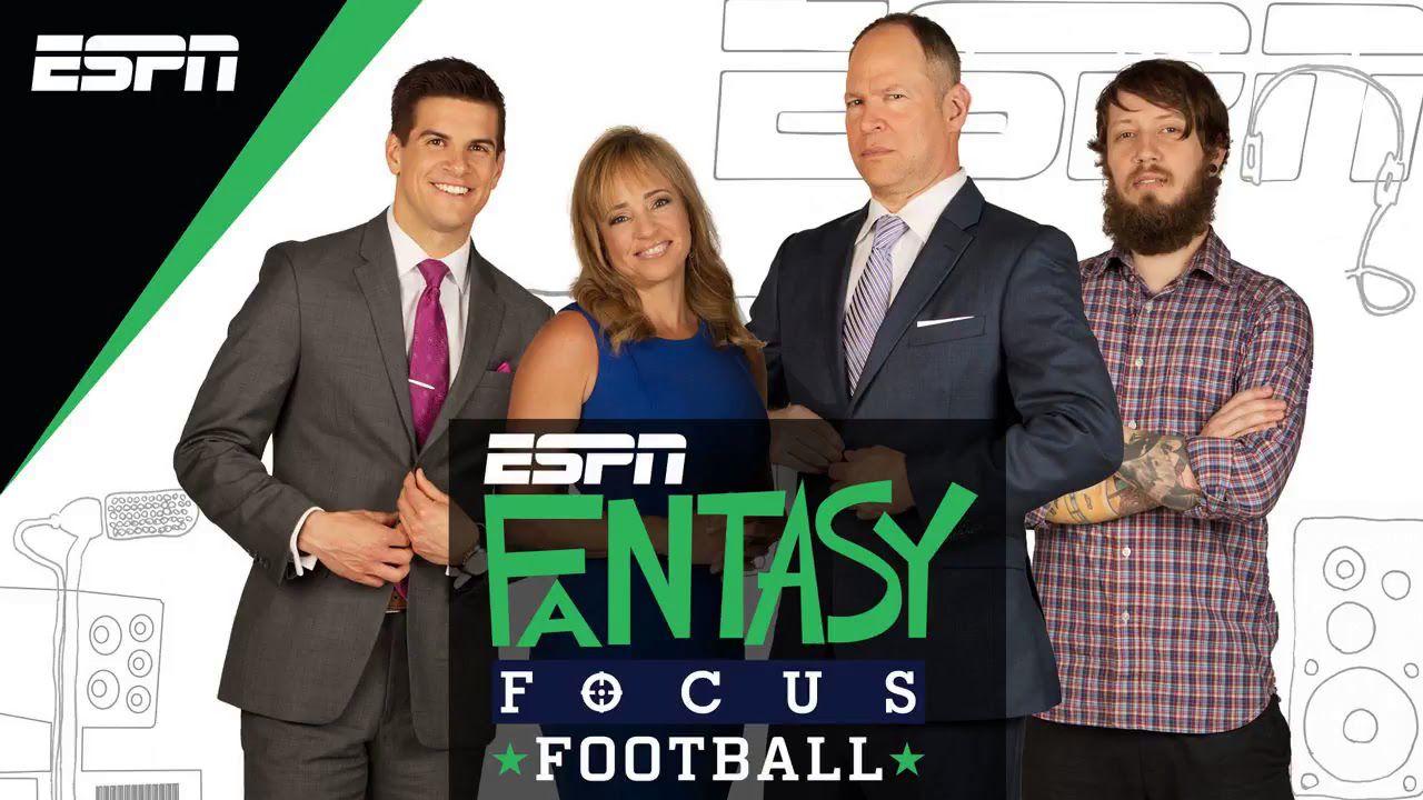 Fantasy Focus Football logo over the podcast's four hosts