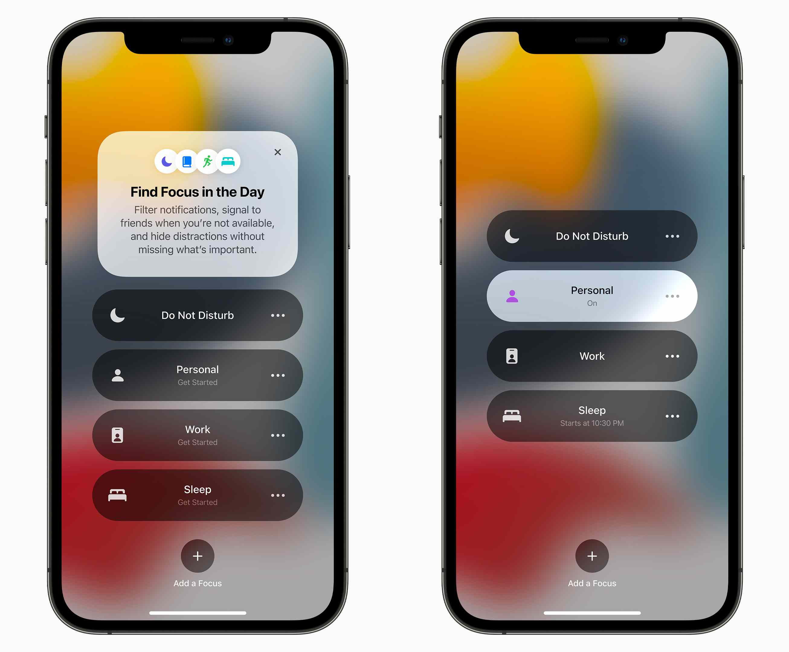 Screenshots of the Focus mode in iOS 15.