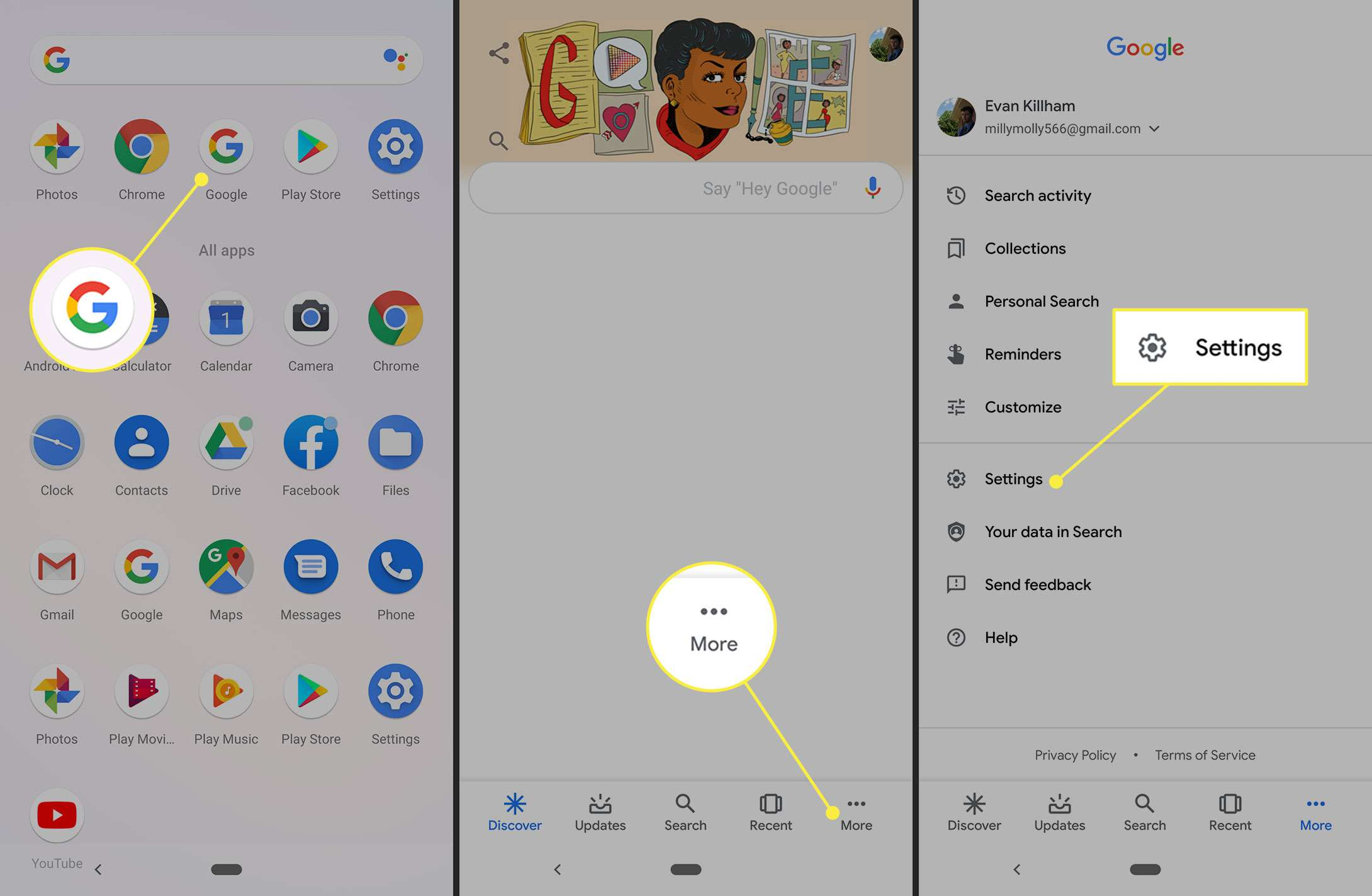 More and Settings in the Google app for Android