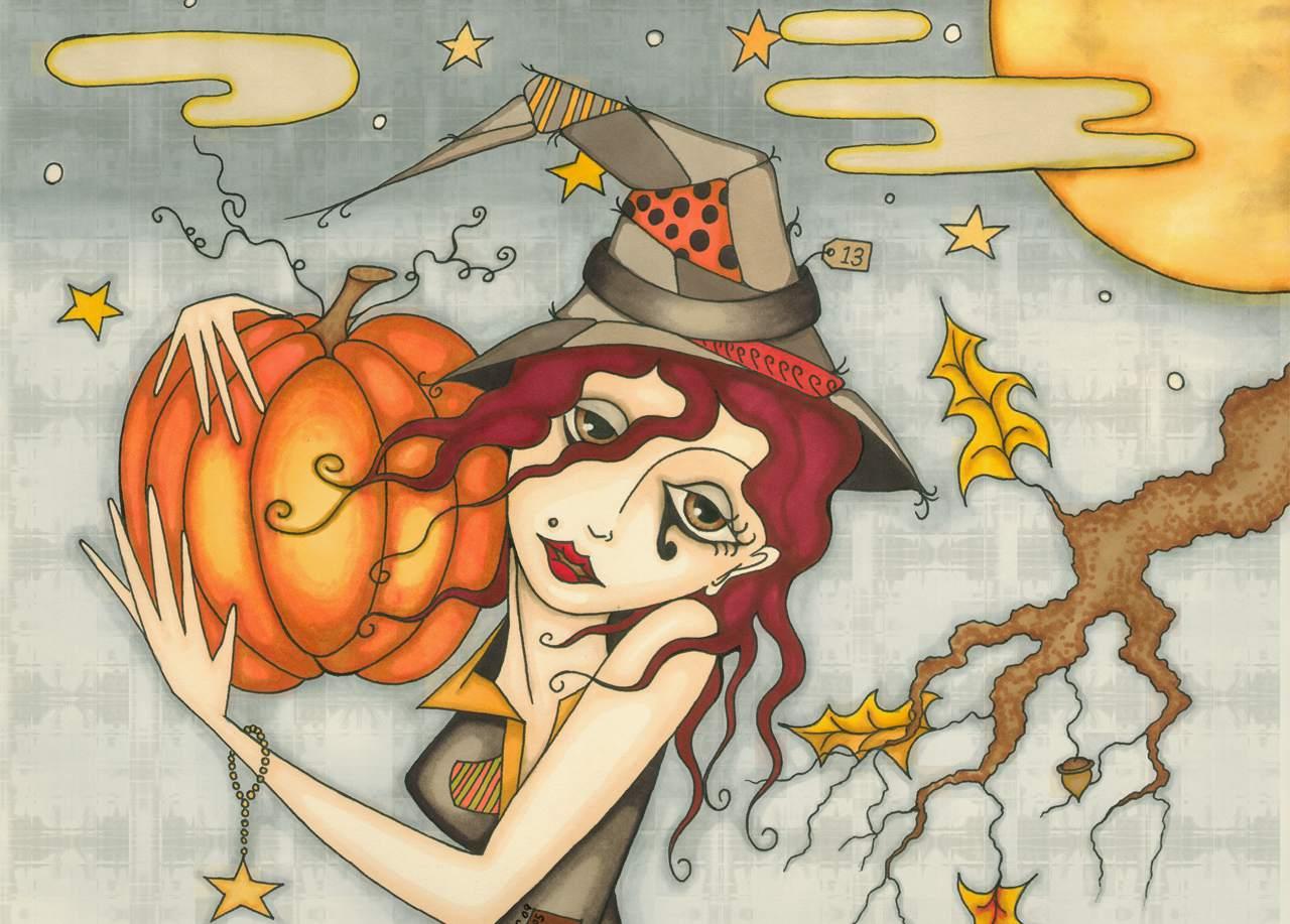 A girl celebrating Halloween