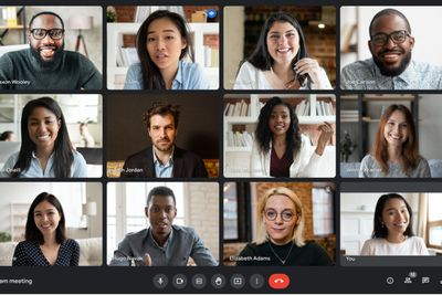 A screenshot of Google Meet with multiple attendees in one conference.