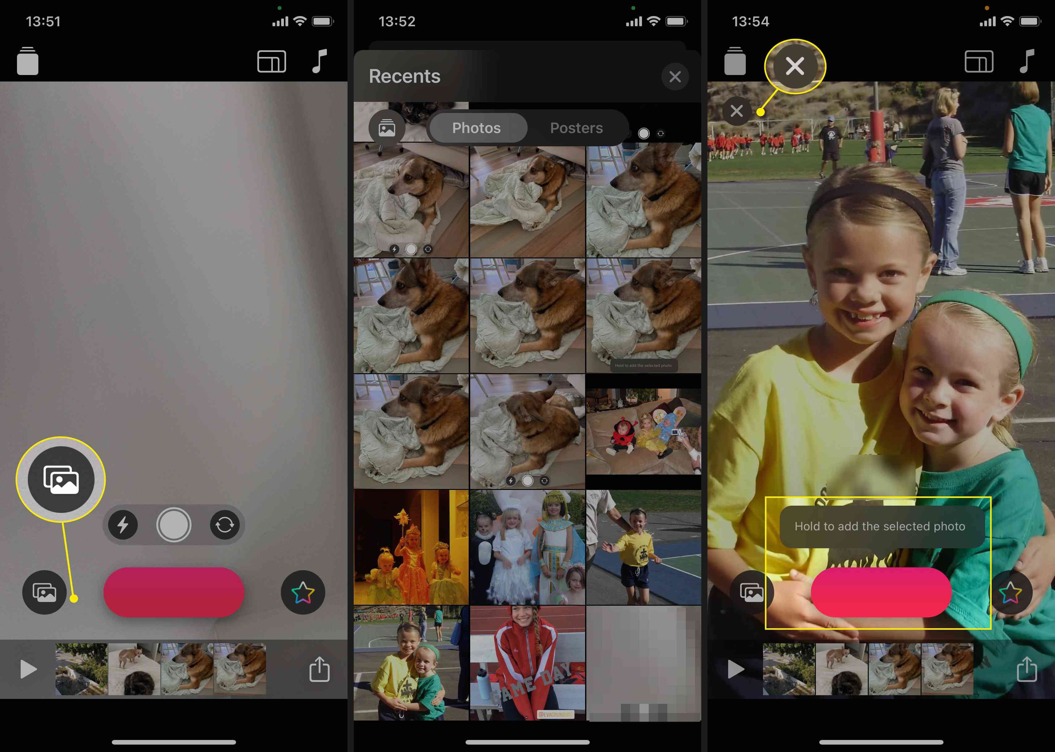 Add a photo from your Library to Clips