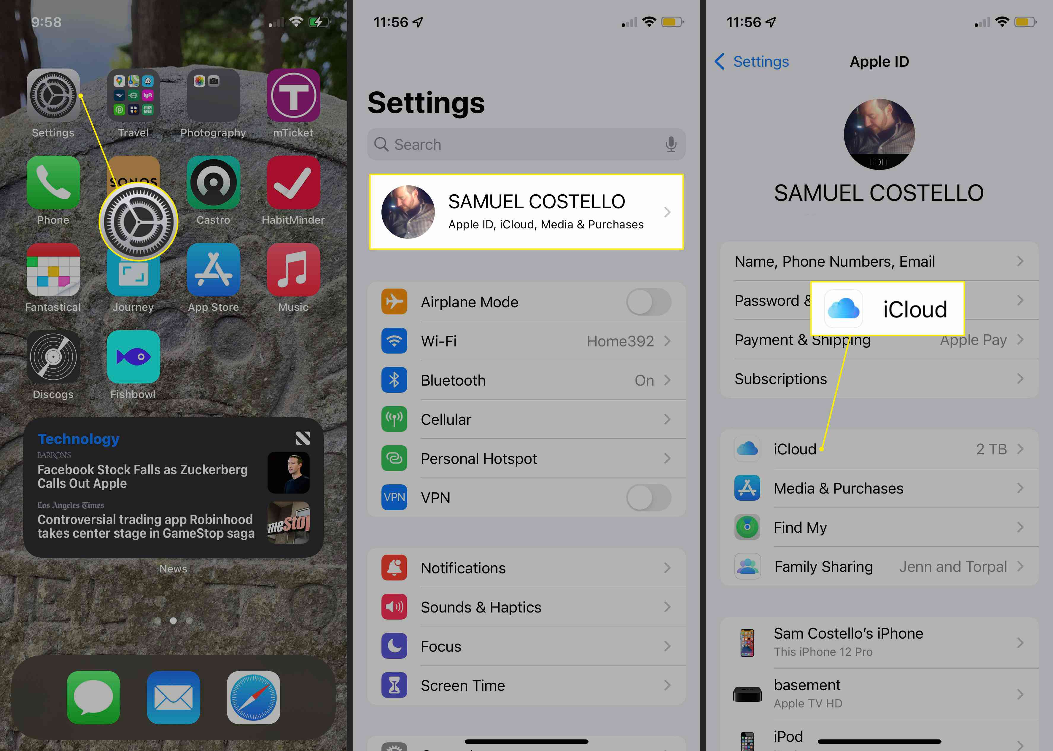 Settings gear, User name, and iCloud highlighted on iOS