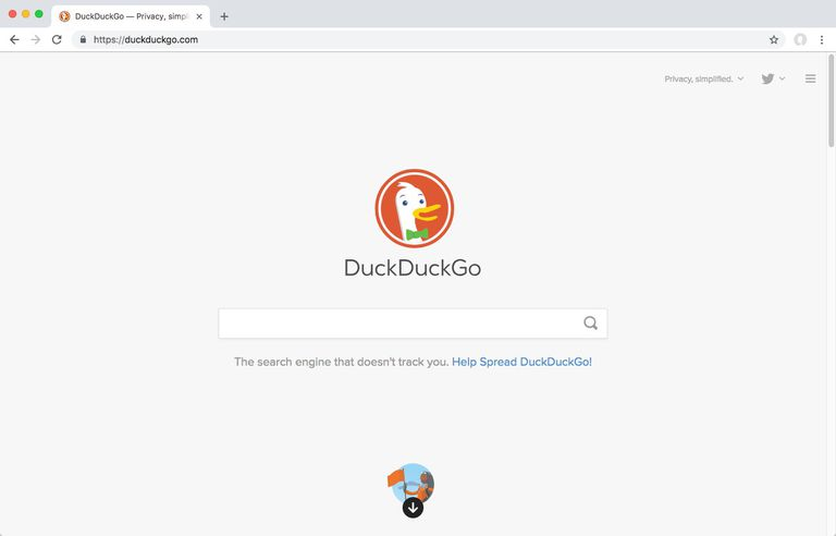 Screenshot of DuckDuckGo's homepage.