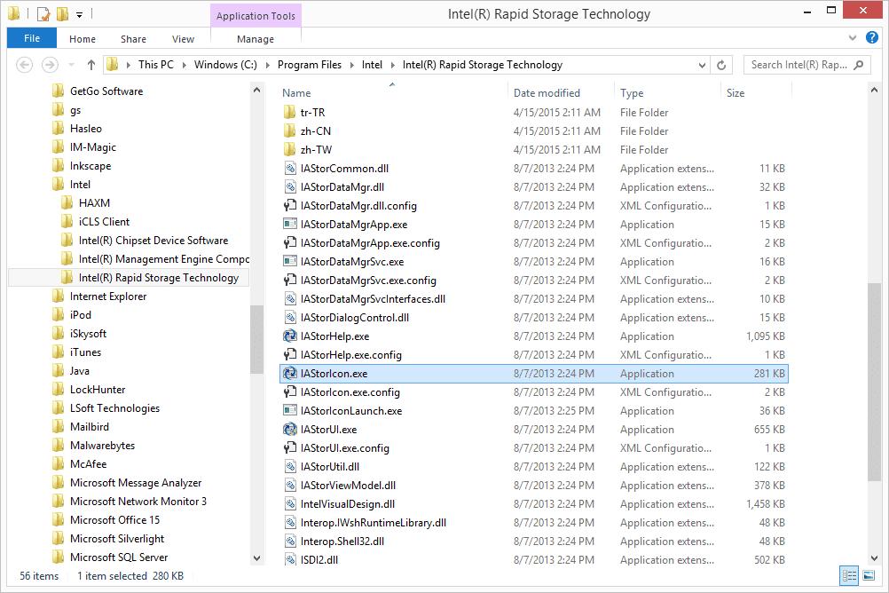IAStorIcon EXE folder location in Windows 10