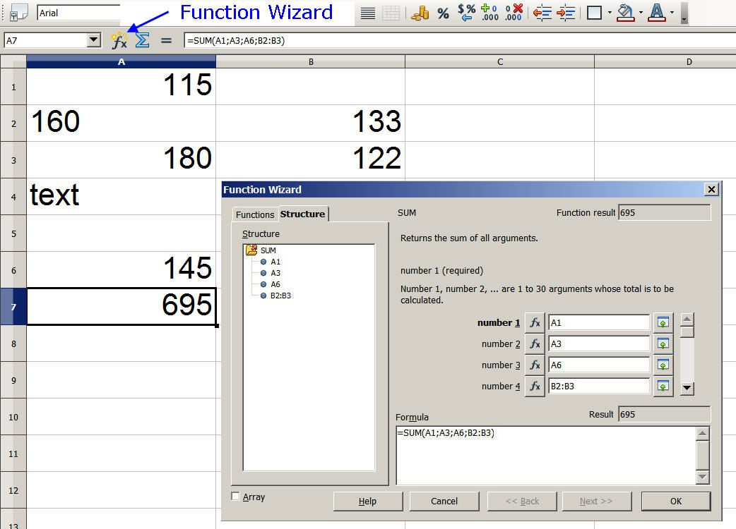 Add up Columns or Rows of Numbers in Open Office Calc