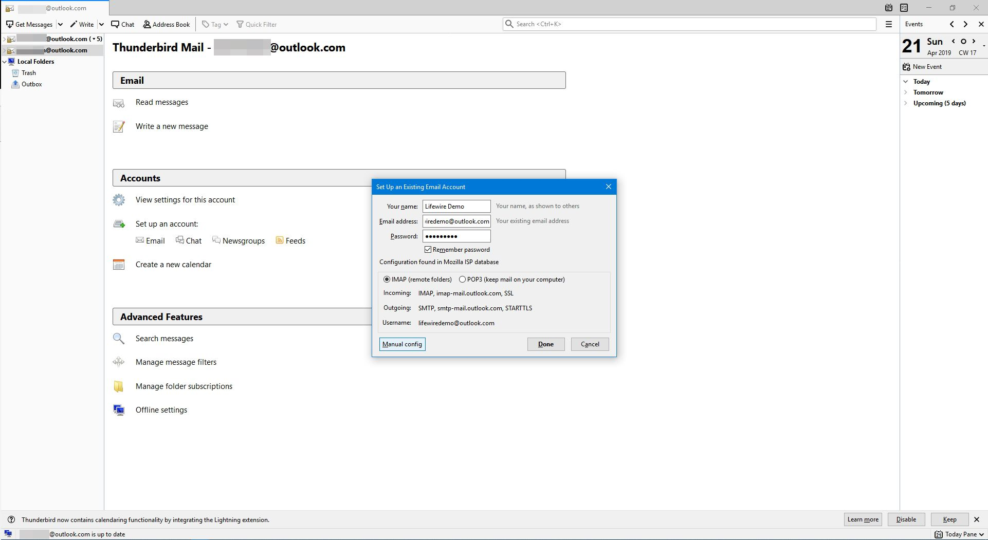 Selecting the manual config button to setup details of an IMAP account in Thunderbird.
