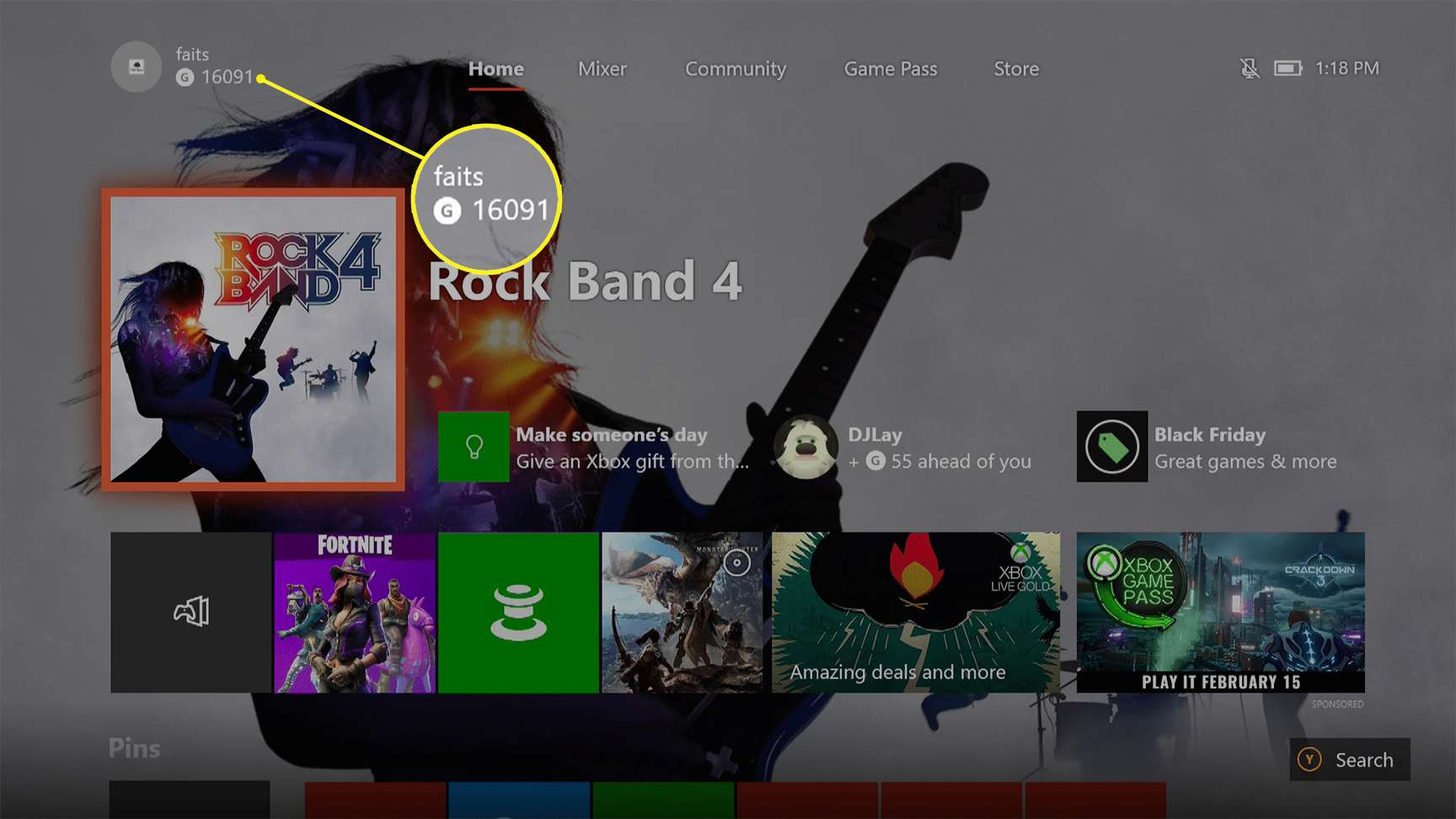 Xbox One showing a gamertag in the upper left corner