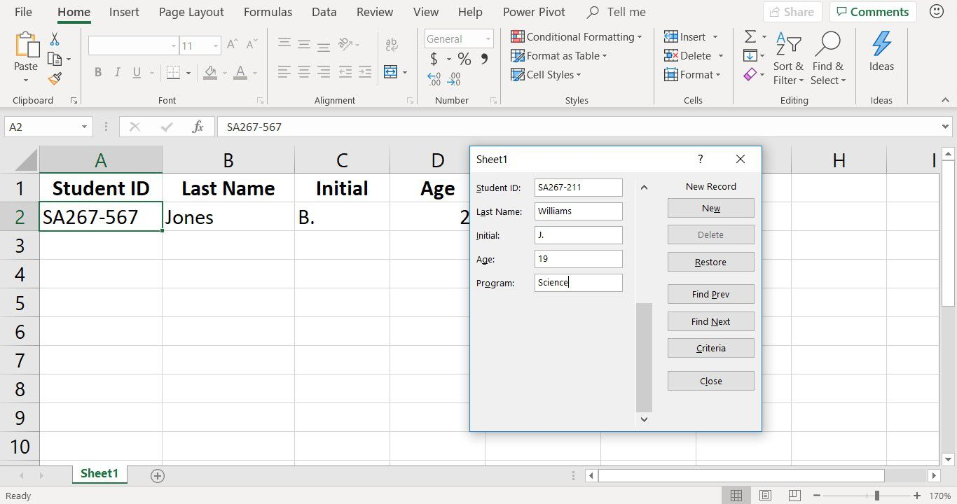 A screenshot showing data entered into a Data Entry Form in Excel