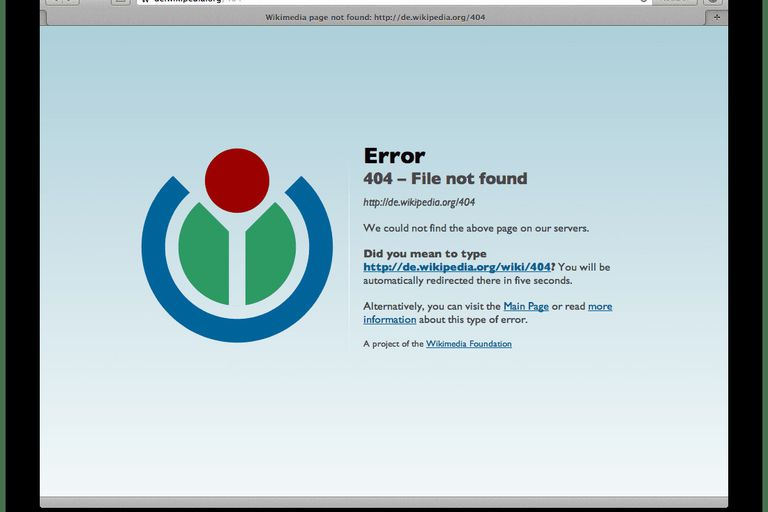Screenshot of a 404 error, one of the most commons HTTP statuses