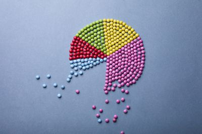 A multicolor pie chart made out of beads