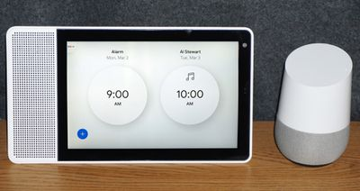 Lenovo Smart Display and Google Home with Alarms Set