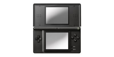 A promotional photo of the original Nintendo DS
