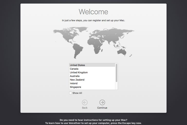 Welcome screen - Turning on your Mac for the first time.