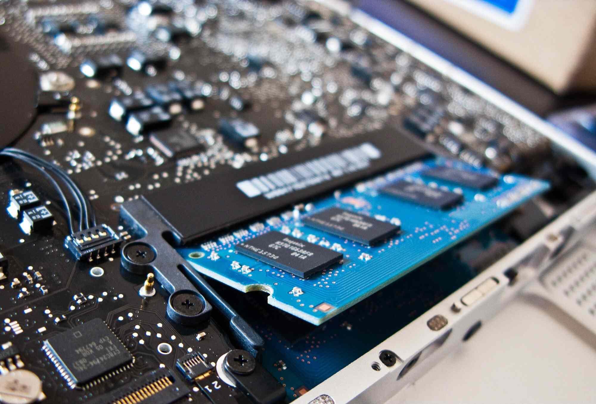 Interior look at a circuit board