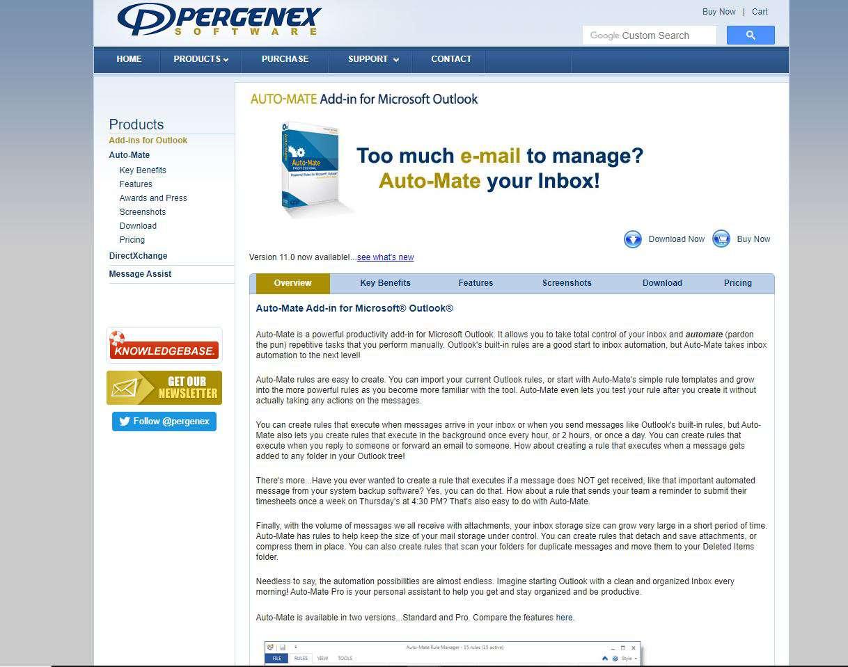 Screenshot of Auto-Mate website