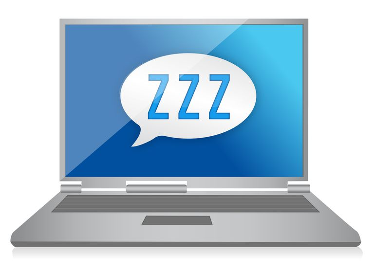 Computer asleep with ZZZ in dialog bubble on the screen