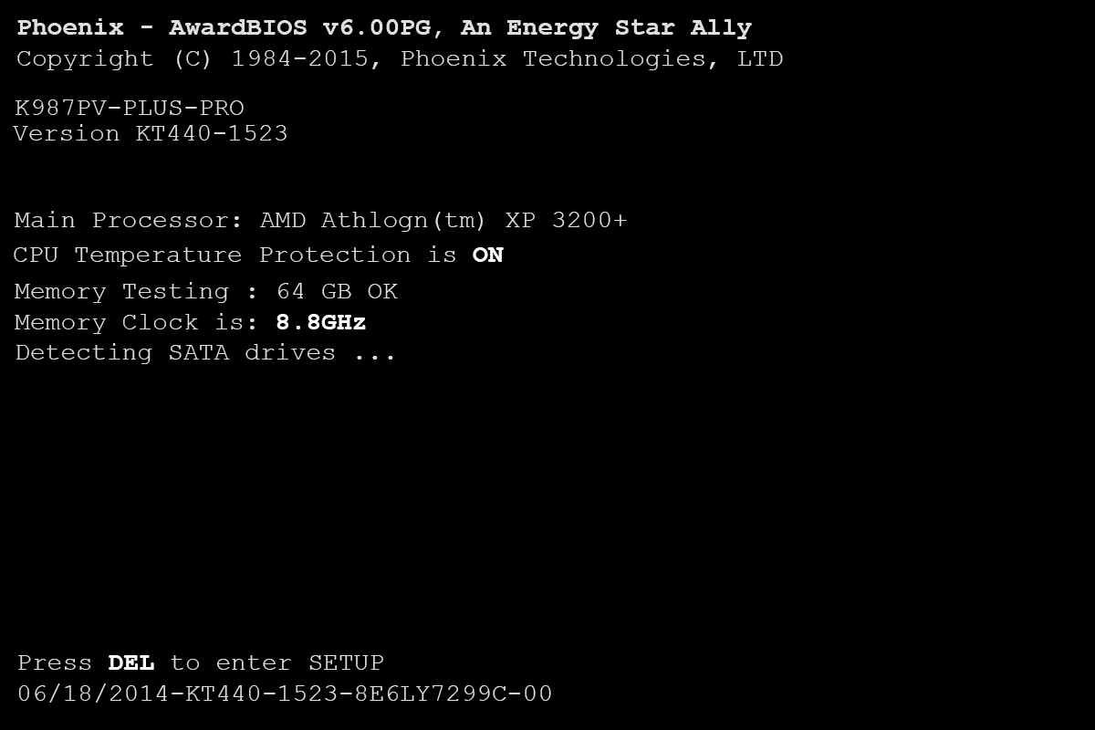 POST screen example showing a BIOS version number