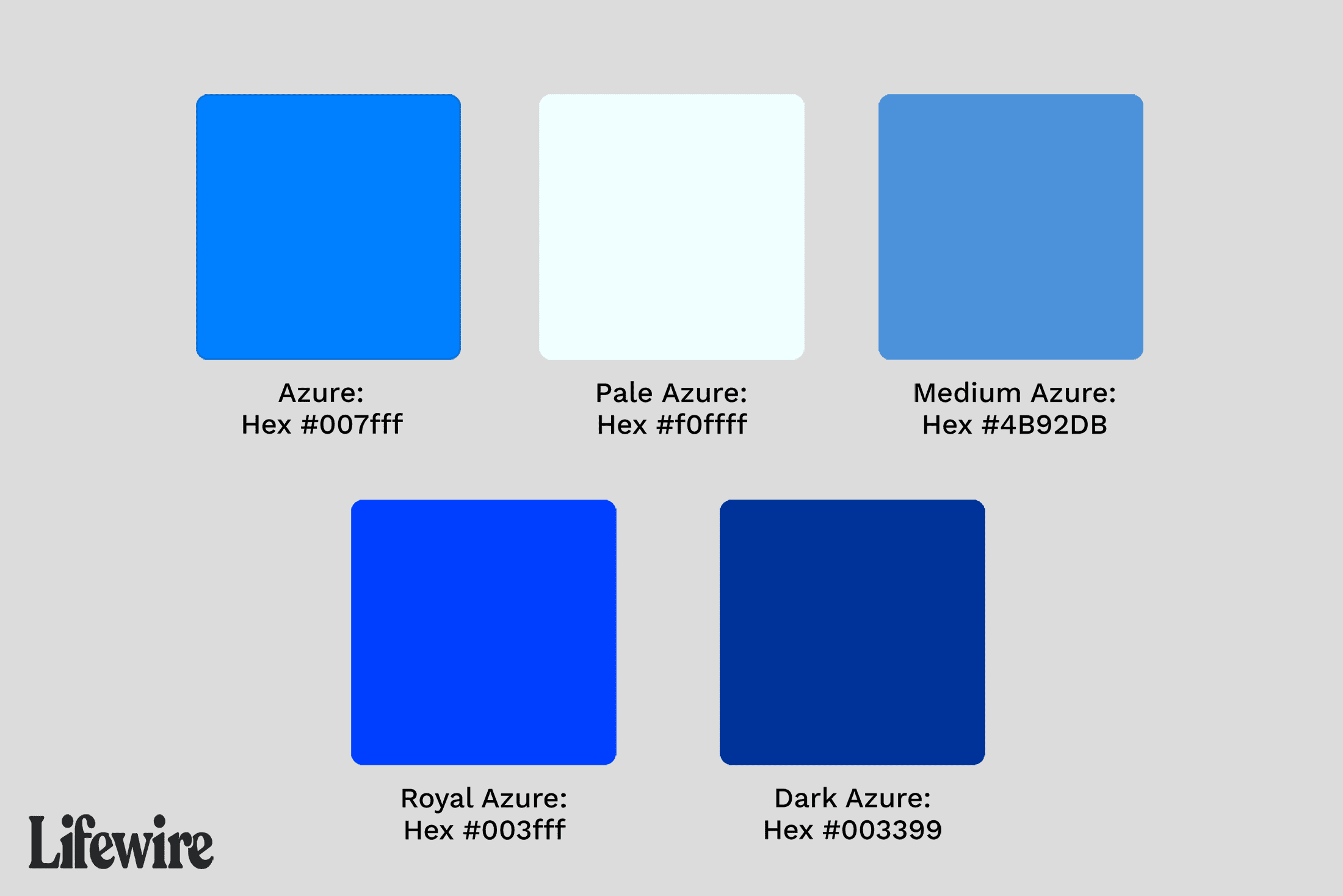 Illustration of various azure color swatches