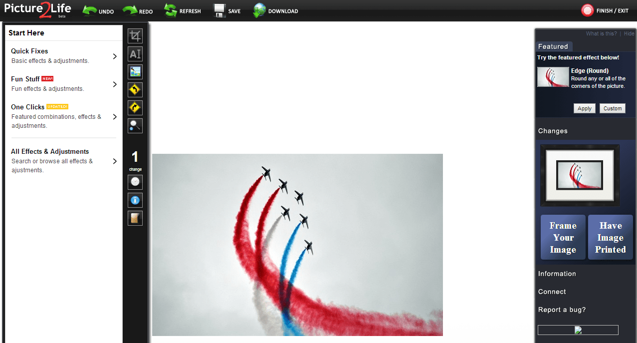 Screenshot Of Picture2Life A Free Online Image Editor