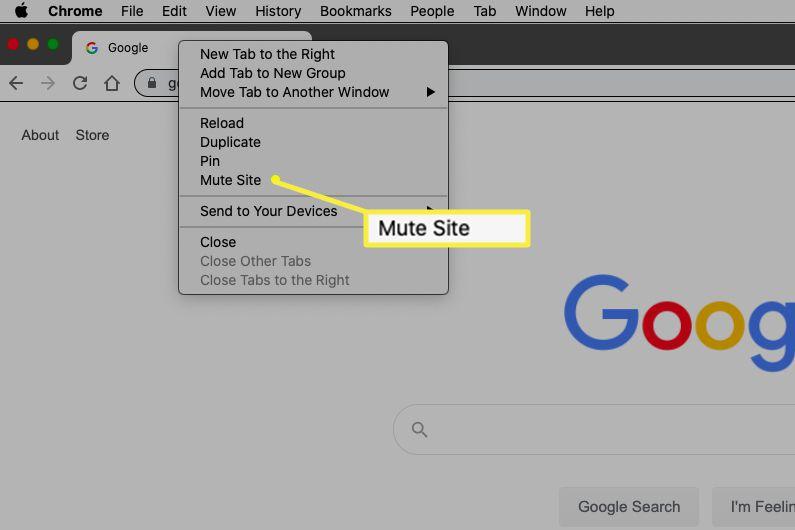 Mute Site in Chrome menu
