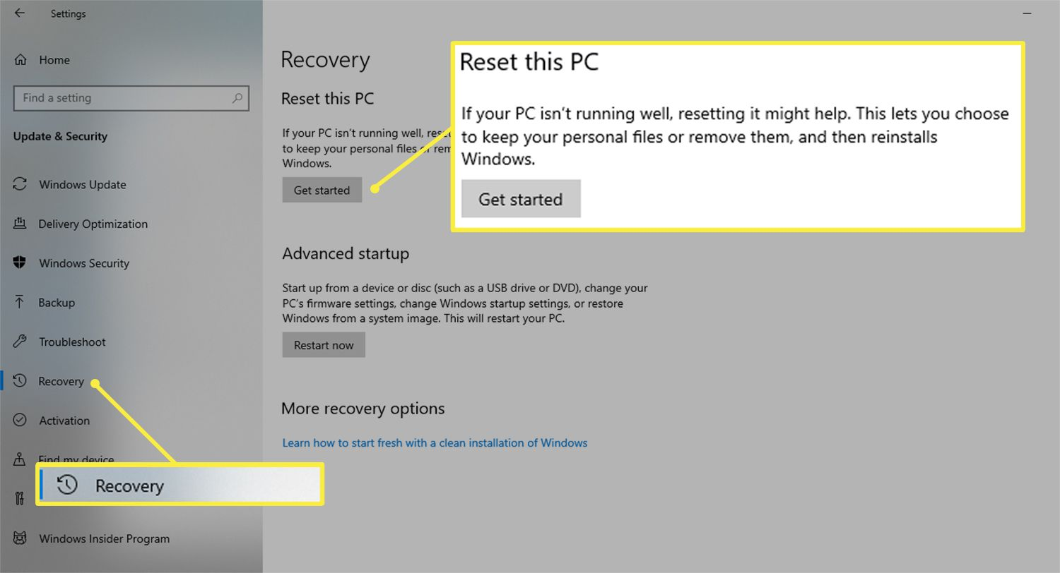 Get started button from the Reset this PC section of the Windows 10 Settings menu