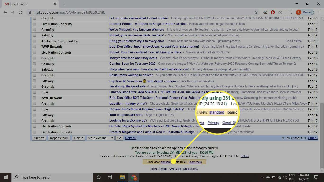 A screenshot of a Gmail inbox with the Gmail view option highlighted
