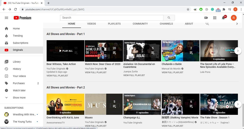 YouTube Premium originals page