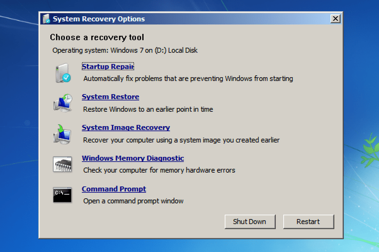 A screenshot of System Recovery Options in Windows 7