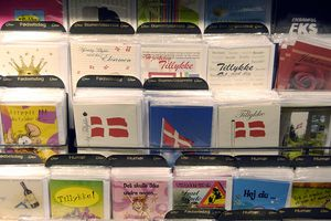Greeting card rack in a store